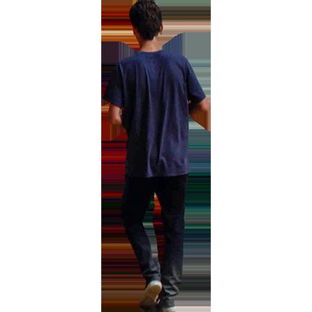 A Young Person Walking Down The Road In A Dark Blue T Shirt Blue Shirt Shirts Blue Tshirt