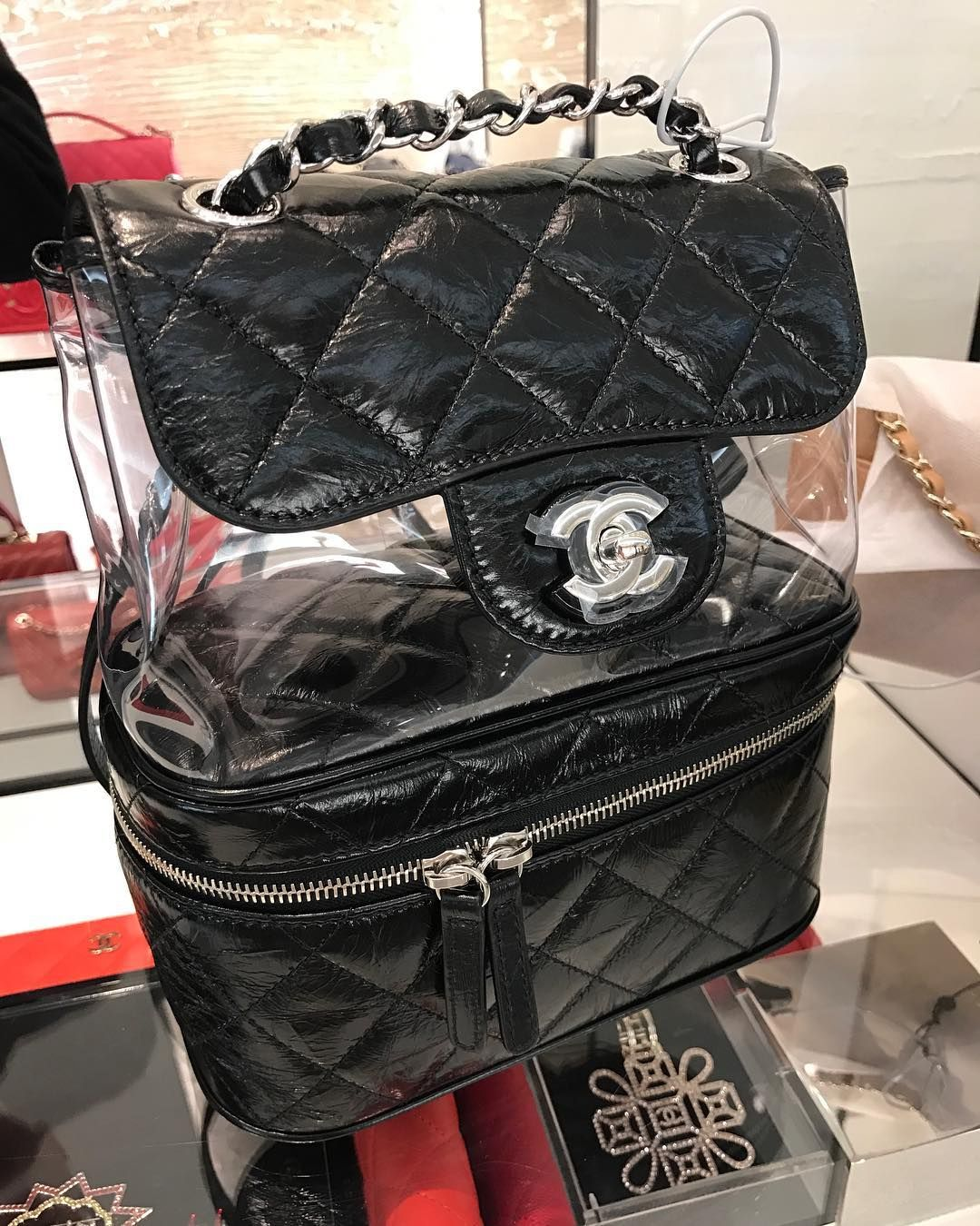 52845015d91ee3 Chanel Transparent Vanity Flap Backpack | Chanel | Chanel backpack ...