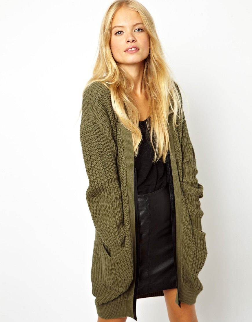 Chunky Cardigan With Zip Detail   GREEN   Pinterest   Chunky ...
