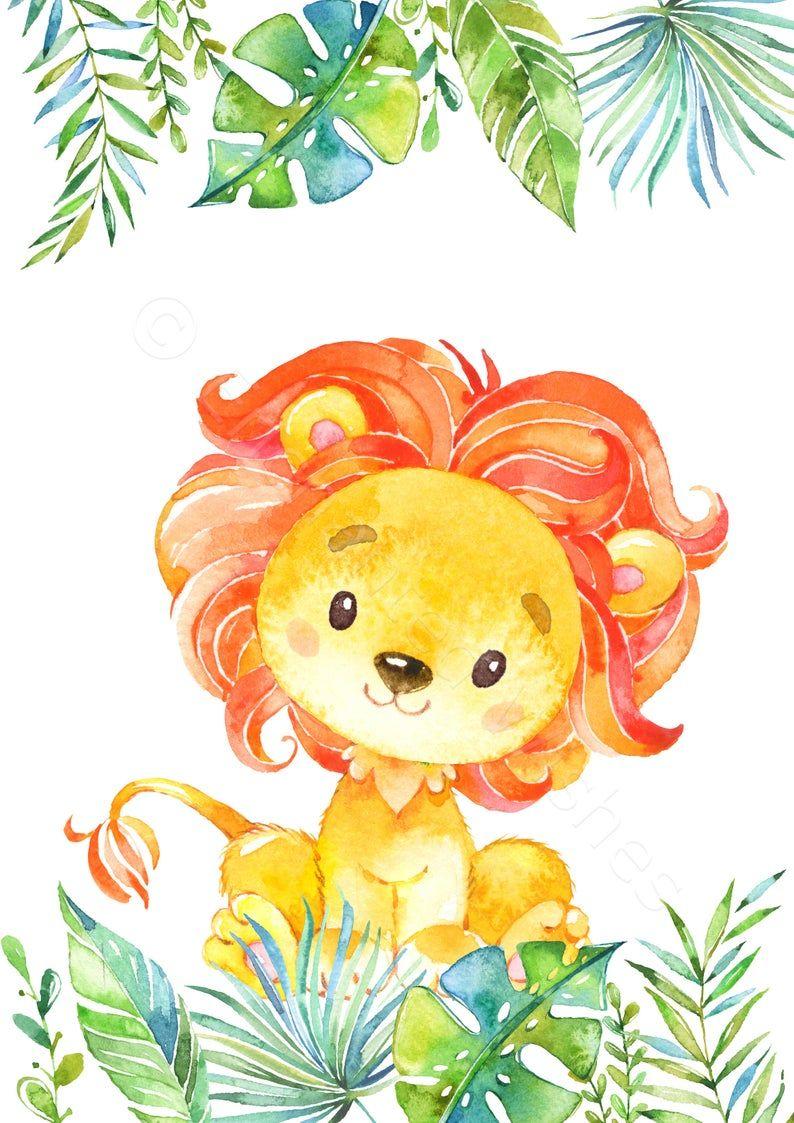 Tema Selva Leon Acuarela Dibujo Animales Infantiles Decoracion