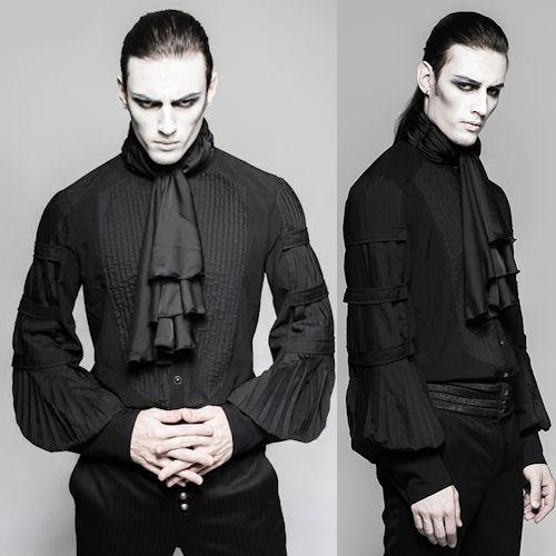 Black Long Sleeve Pleated Victorian Gothic Fashion Dress Shirts Men SKU 11407441