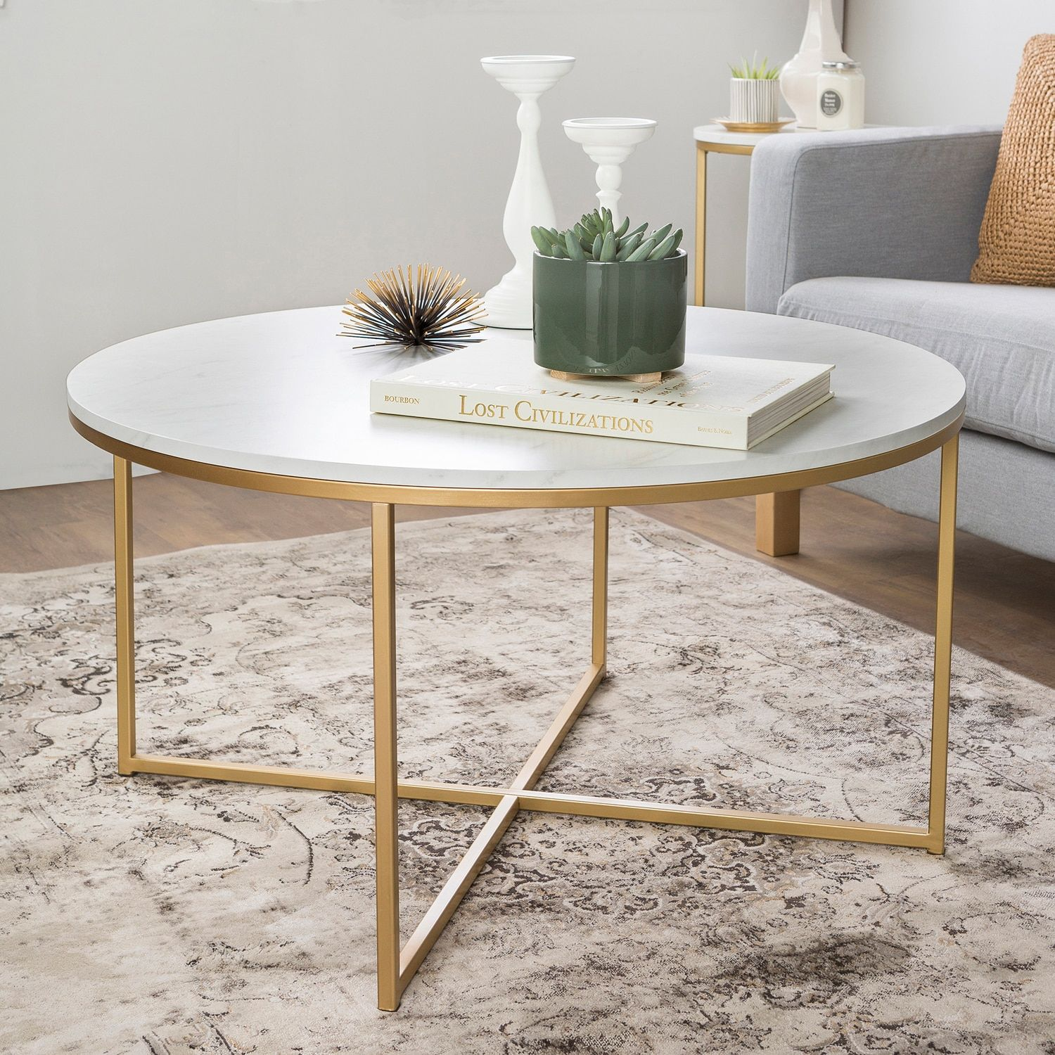 Faux Marble 36 Coffee Table With Gold X Base Faux Marble Coffee Table Gold Coffee Table Marble Tables Living Room [ 1500 x 1500 Pixel ]