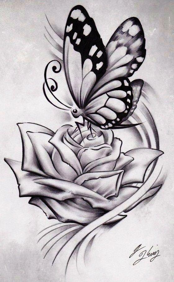 Photo of Tattoos aus Rosen und Schmetterlingen – –  Tattoos aus Rosen und Schmetterlingen…