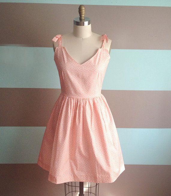Womens Sundresses / Peach Dress / Polka Dot by kimberlynoland, $59.99