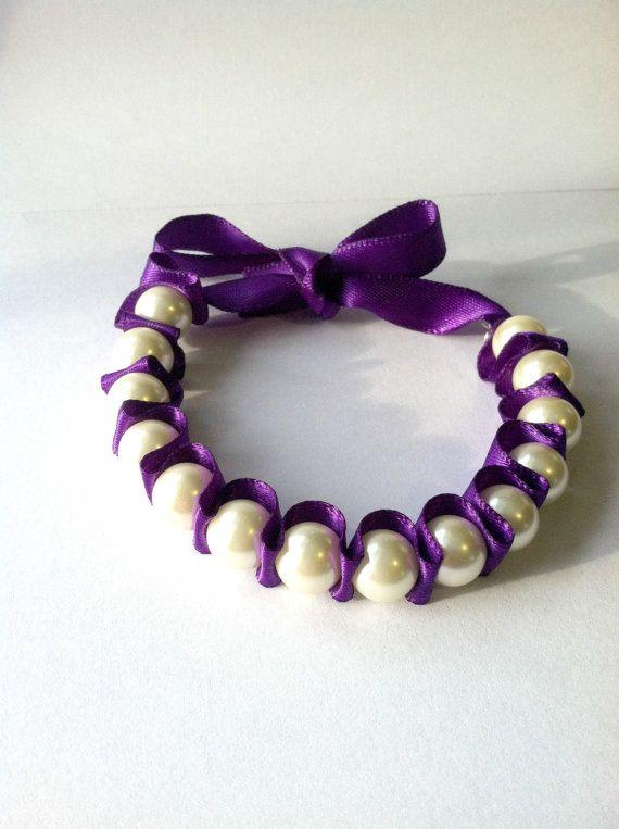 Pearl Ribbon Bracelet Dark Purple Gift By Darlingbracelets 9 99