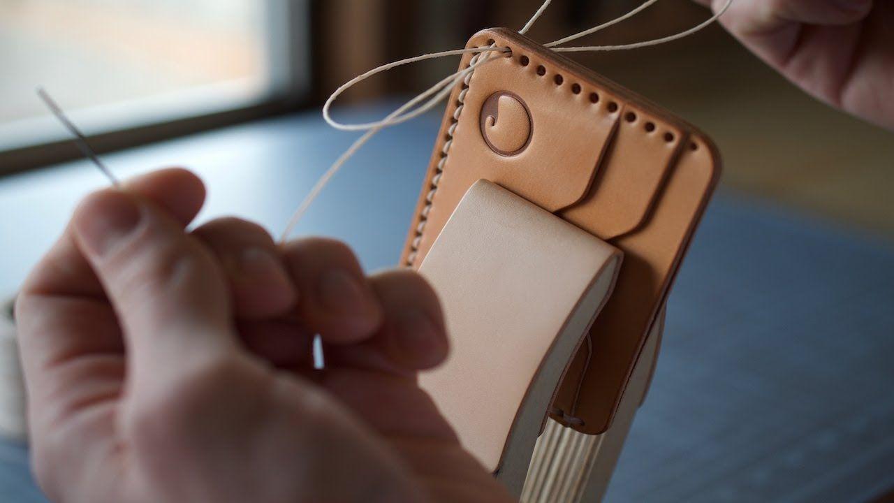 making a 5 pocket leather card wallet  asmr diy tutorial