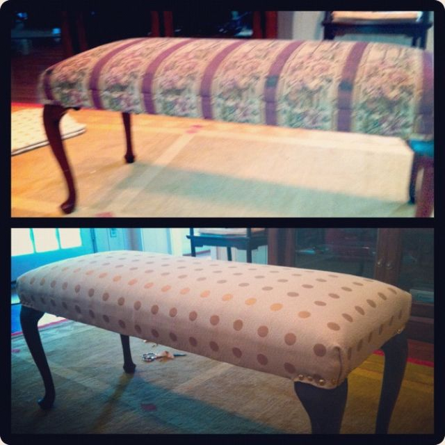 Bought an old bench at the Guild Shop in Houston and recovered it.