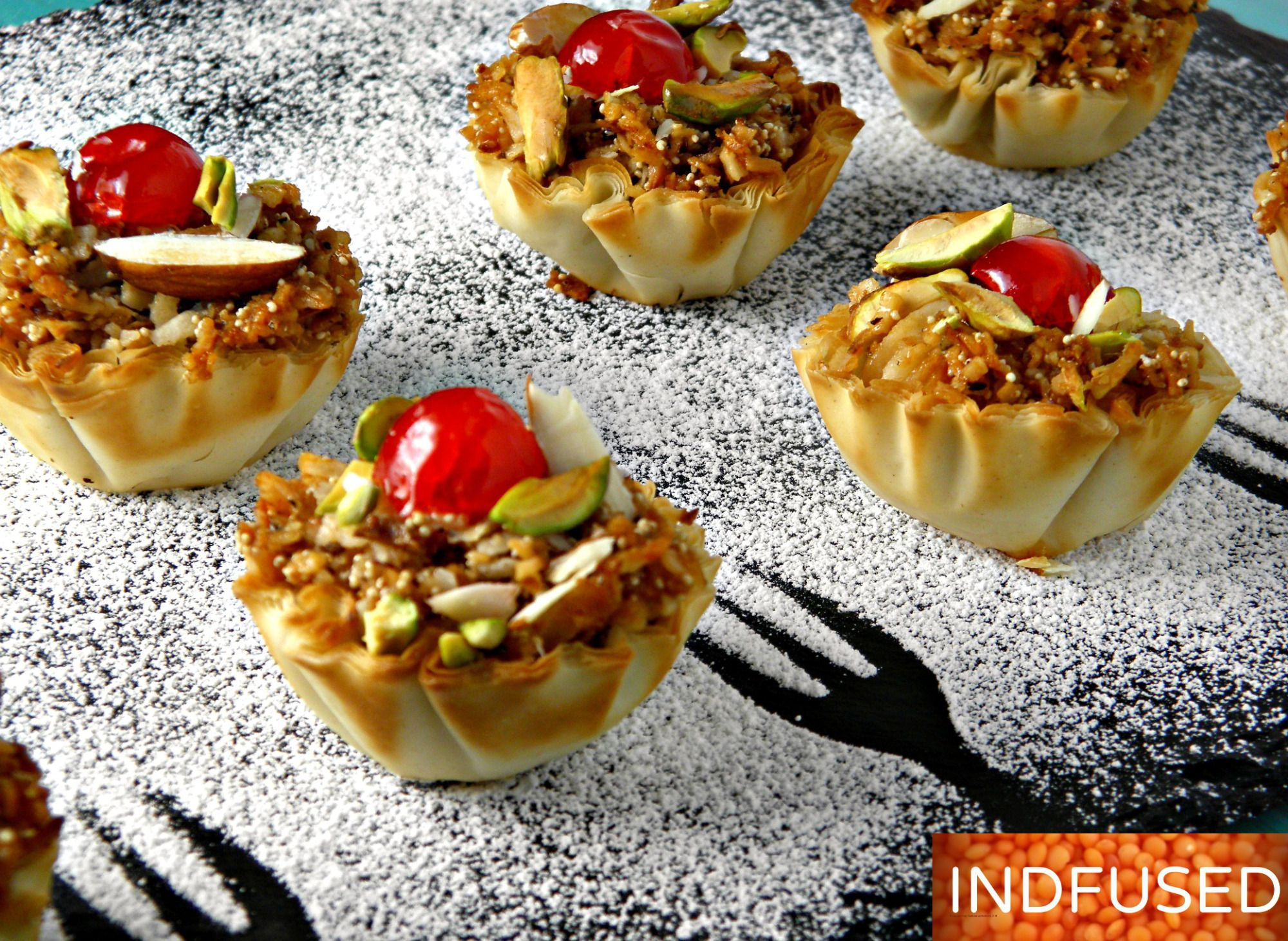 Indian fusion easy recipe for exquisite karanji dessert canapes indian fusion recipe for distinctive dessert canapes rich with the exquisite taste of the traditional karanji and with no added sugar forumfinder Images