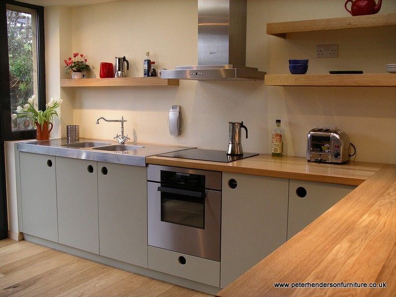 handmade kitchen in oak with french grey doors. . . lots of nice ...