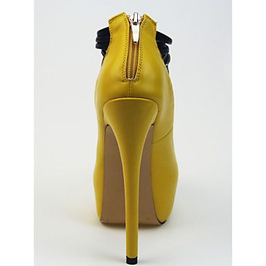 Calçados Femininos Courino Salto Agulha Saltos/Plataforma/Arrendondado Plataformas / Saltos Social/Festas & Noite Amarelo - BRL R$ 205,17