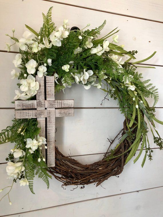 Photo of Easter wreath, cross wreath, Spring wreath, Summer wreath, front door wreath, greenery wreath, summer door wreath, farmhouse Easter wreath