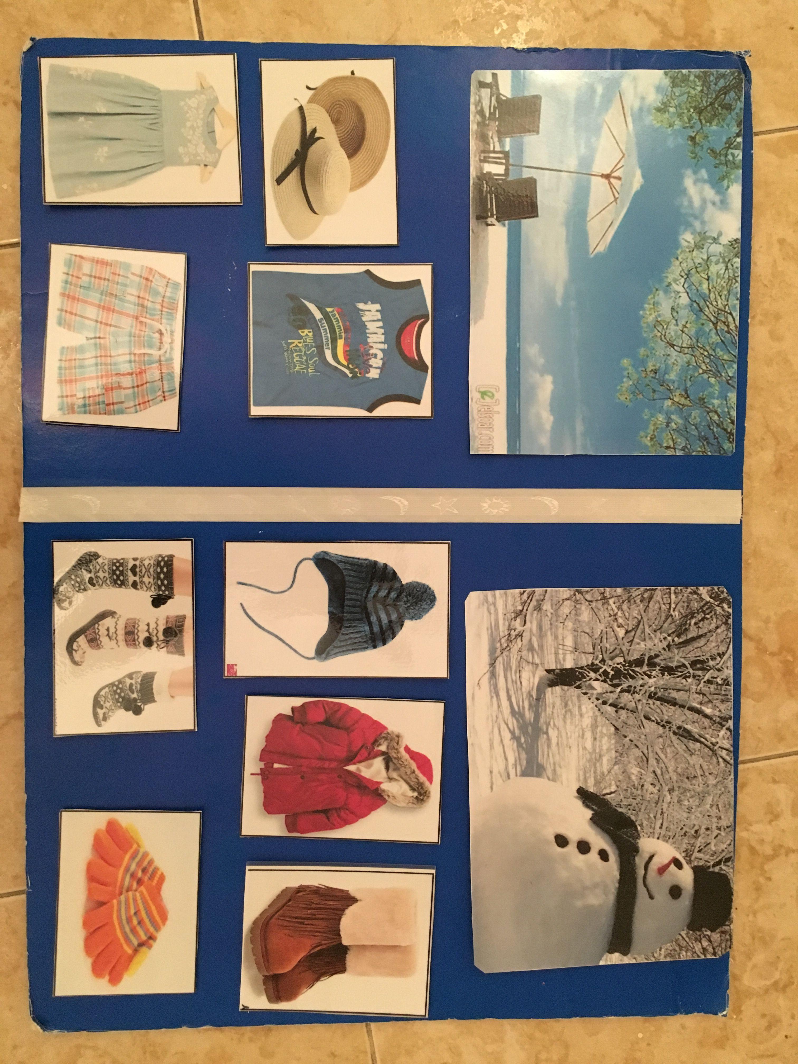 وحدة الملبس يختار الطفل من بين قطع الملابس المختلفه الملابس التي تلبس في الشتاء والملابس التي تلبس في الصيف Easy Crafts For Kids Easy Kids Crafts For Kids