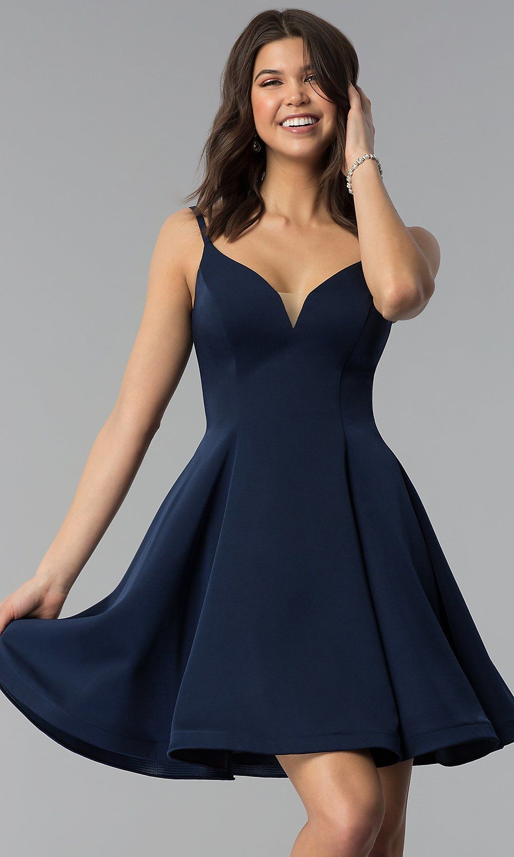 Photo of Short V-Neck A-Line Party Dress by Dave and Johnny