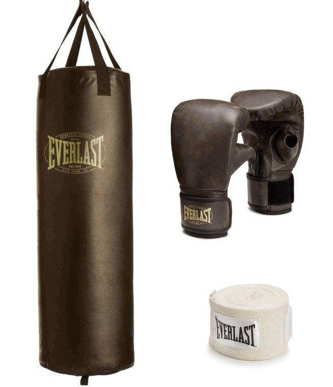 5ea3e4ecb45 Everlast 100 lb Heavy Bag Boxing Kit Punching Bag Gloves Hand Wraps  Training NEW  Everlast