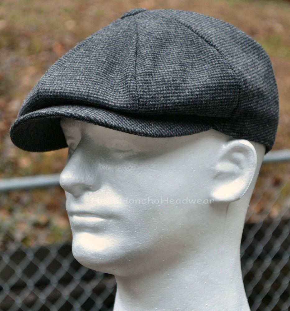 Grey Wool Tweed Gatsby Cap Men Newsboy Ivy Hat Golf