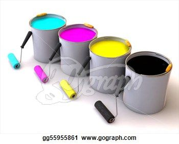 Rollers Brush And Buckets Of Paint 3d Roller Brush Painting