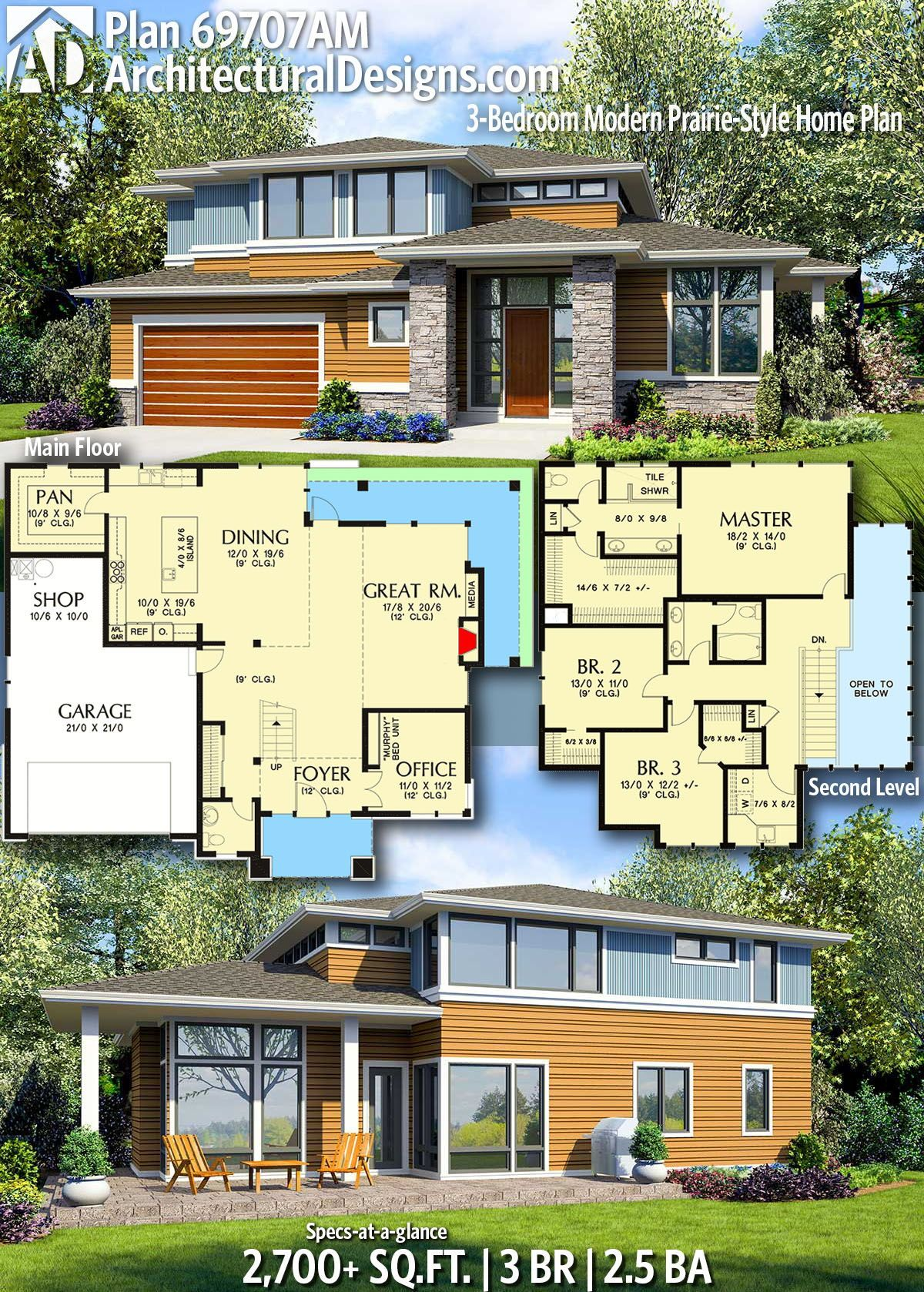 Plan 69707am 3 Bedroom Modern Prairie Style Home Plan Prairie Style Houses Sims House Plans House Plans