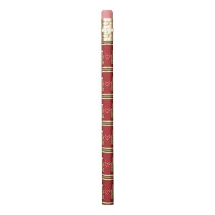 Gingerbread Man Red And Green Horizontal Stripes Pencil  Pattern