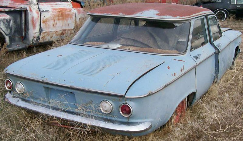 blue rusted classic rear aluminum engine early Chevrolet Corvair – aka Ralph Nad…
