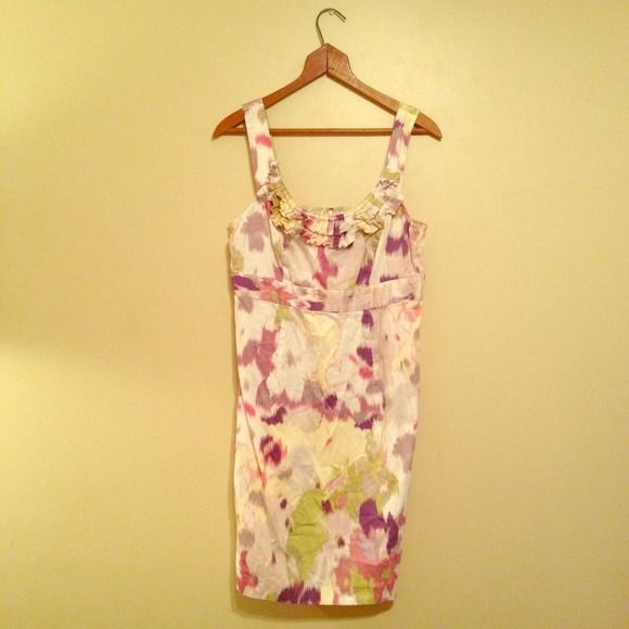 """HOST PICKAnn Taylor LOFT summer dress White dress with """"tie dye"""" pattern of pink, green, purple, grey. Perfect for the summer. Has ruffle detail at the neck. 100% cotton. EUC LOFT Dresses"""
