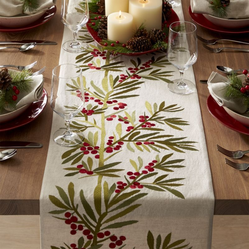 Free Shipping Shop Holly Embroidered Table Runner 120 Gorgeous Botanical Table Runne Christmas Table Runner Christmas Table Cloth Embroidered Table Runner