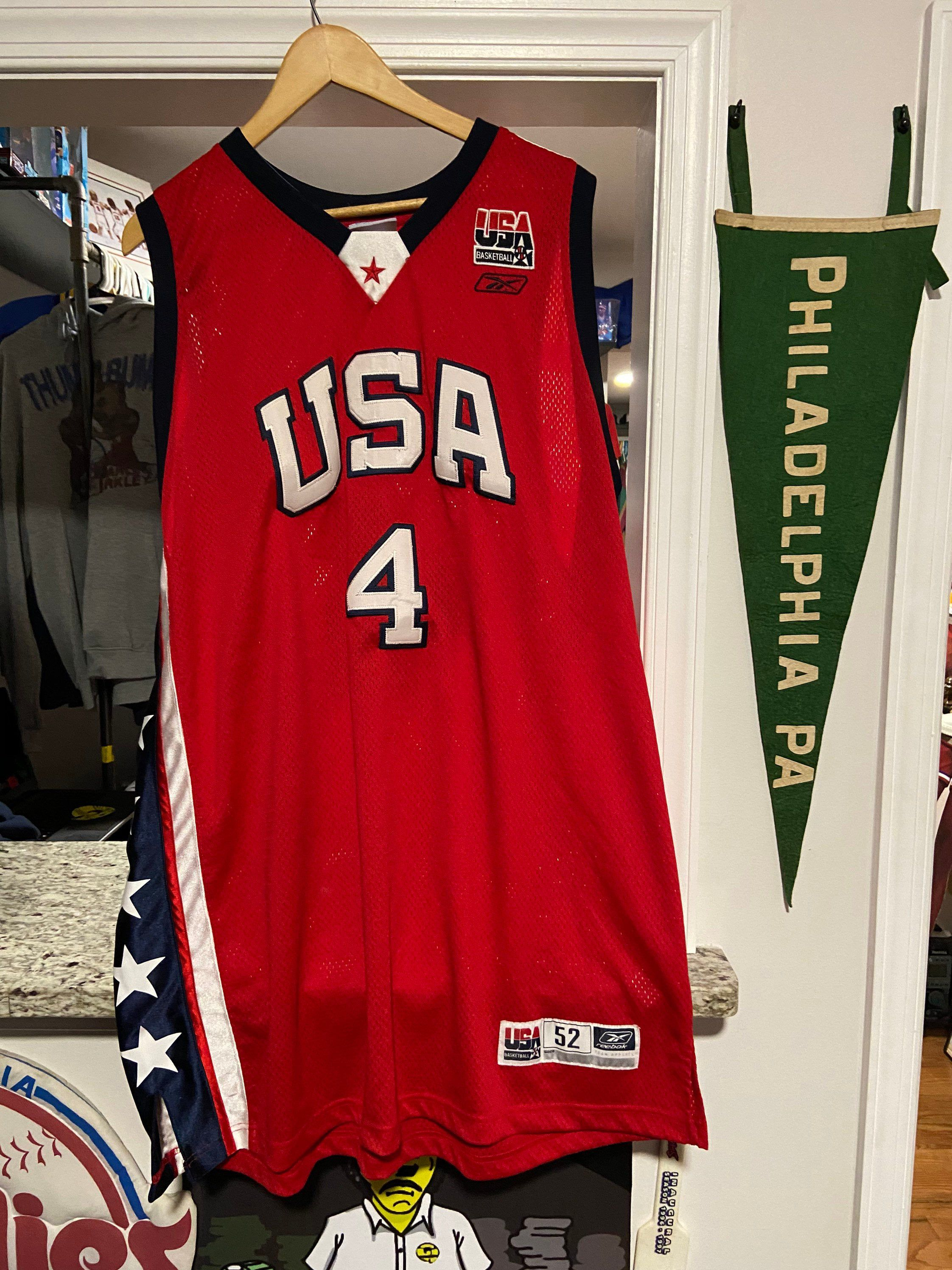Vintage Mens Xxl Size 52 Red Reebok Team Usa Allen Iverson