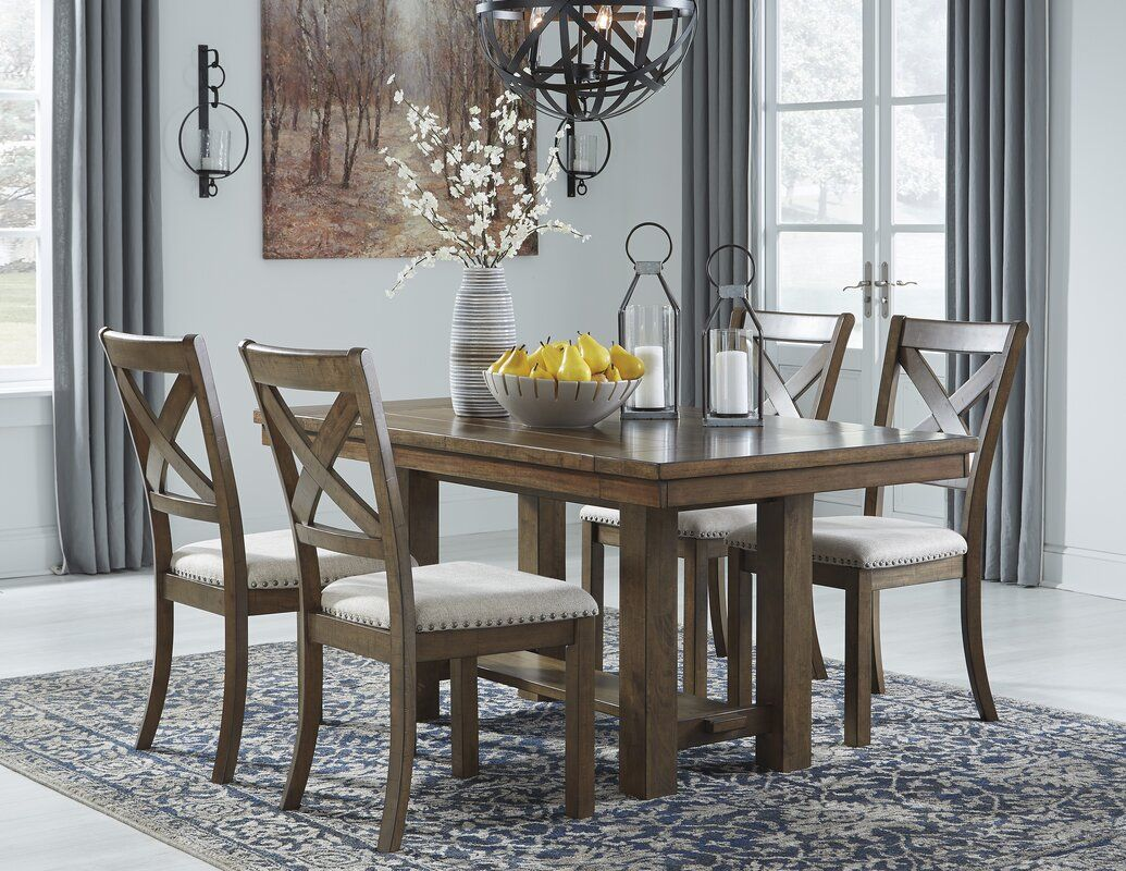 Hillary Upholstered Cross Back Side Chair In Brown Ashley Dining