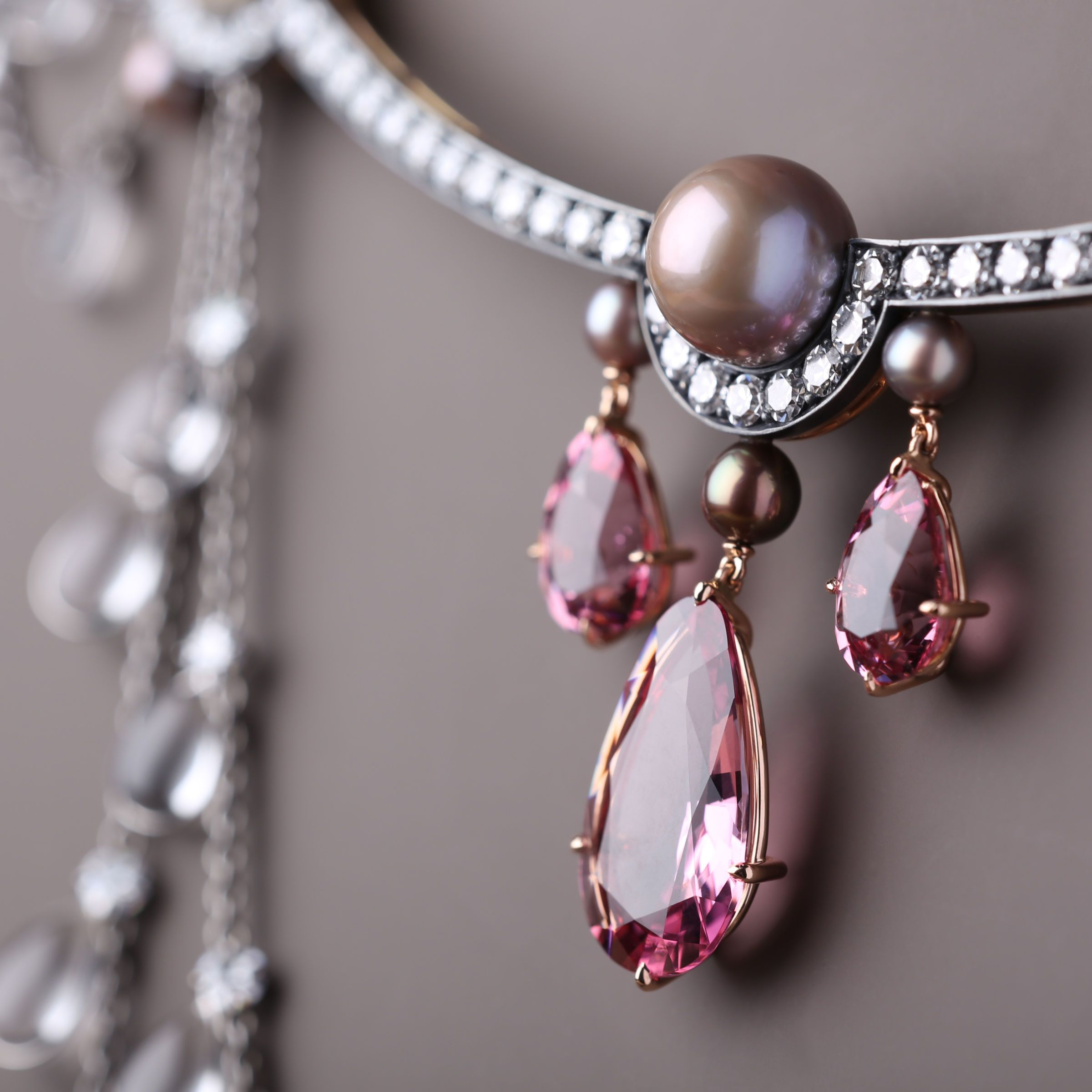 Nadia Morganthaler Necklace - Spinels, pearls and diamonds