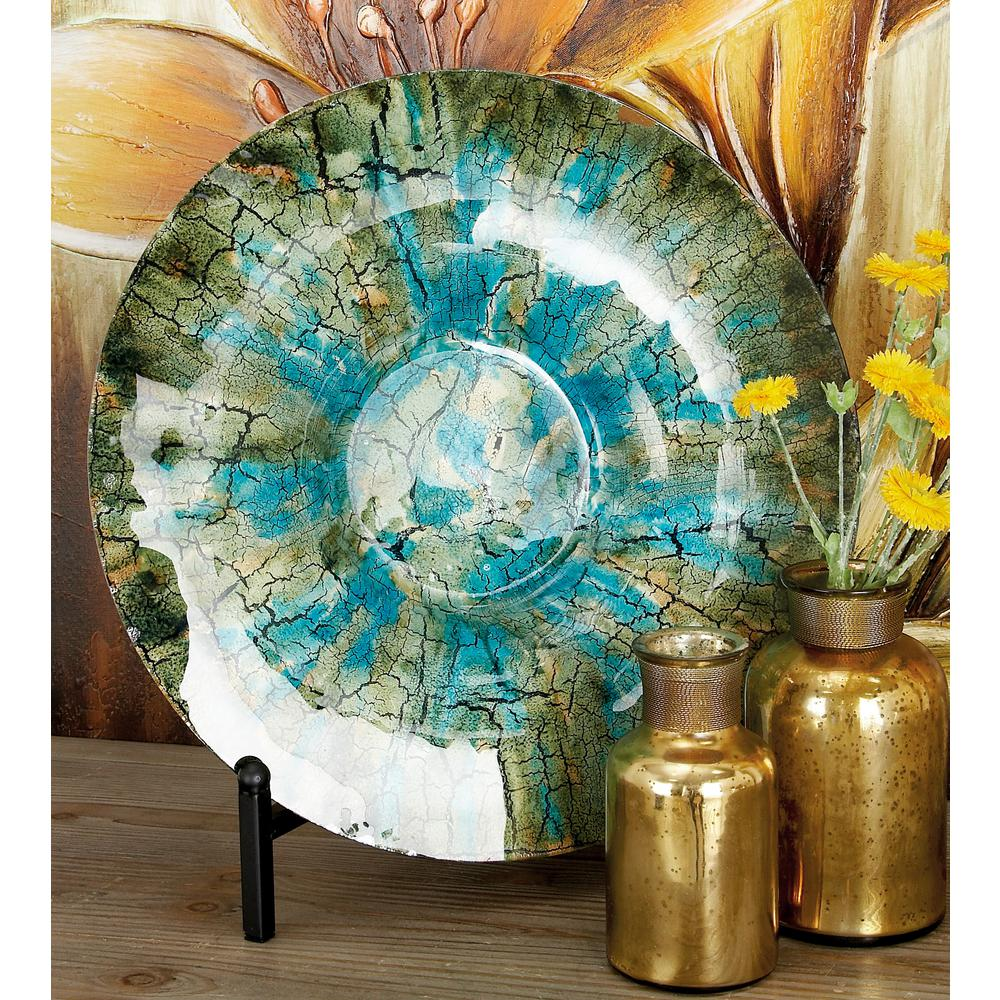 LITTON LANE 18 in. Rustic Turquoise and Brown Glass ...