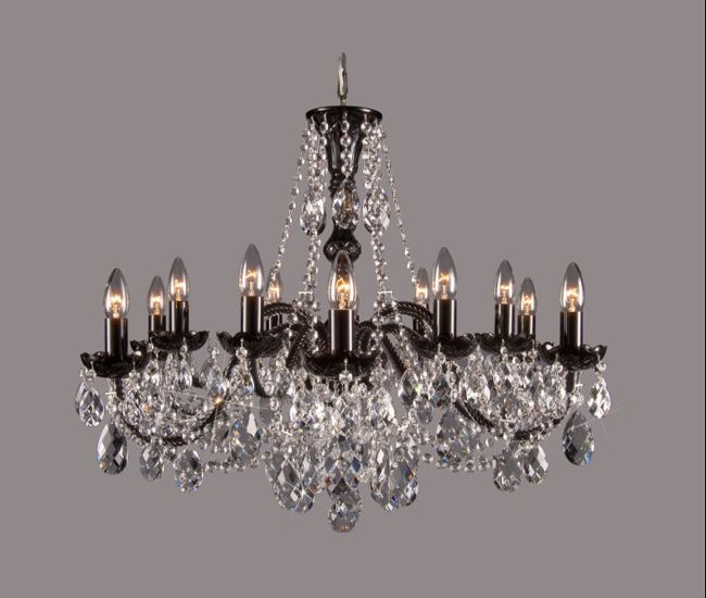 Black Gl Chandelier With Bohemian Clear Crystal Dressing