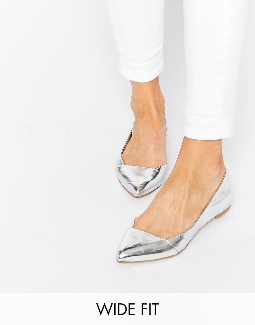 b65da8ab006 Image 1 of ASOS LOOK BACK Wide Fit Pointed Ballet Flats