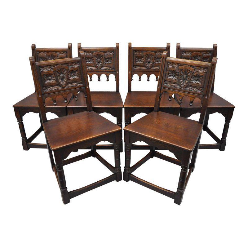 Set of 6 Antique Oak Wood Gothic Jacobean Renaissance ...