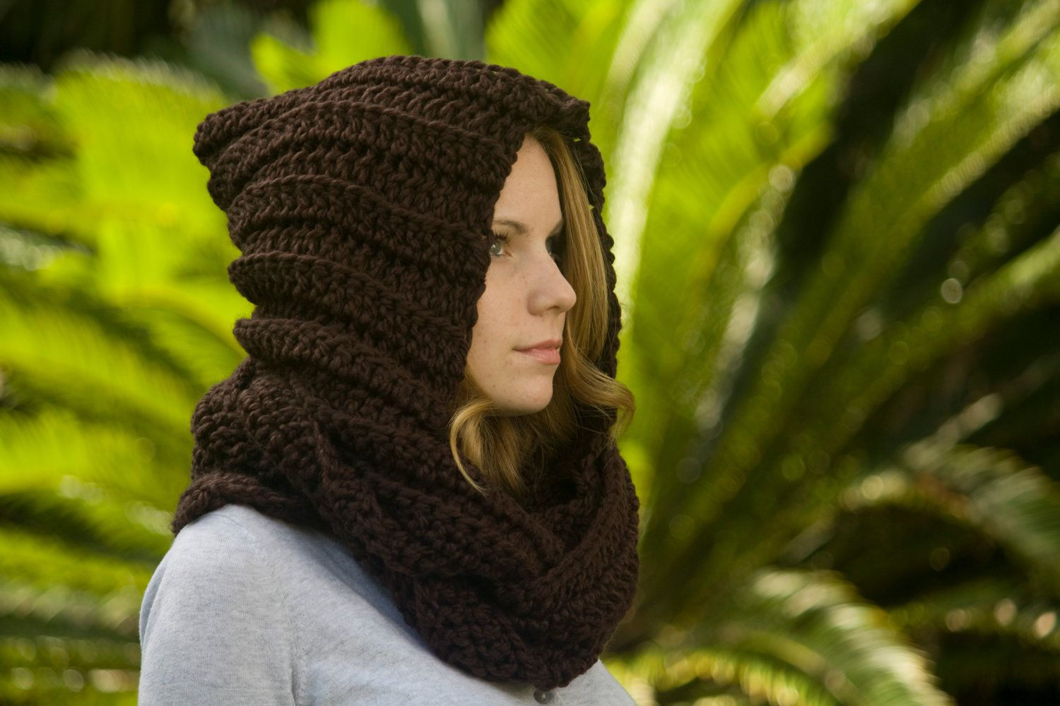 Hooded Scarf, Scoodie, Woodland Hood, Women\'s Accessories, Chocolate ...