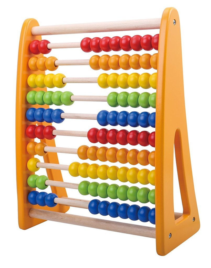 Color : Large Math Toy for Kids 100 Bead Abacus Wooden Abacus Classic Counting Tool Multi-Colored Beads
