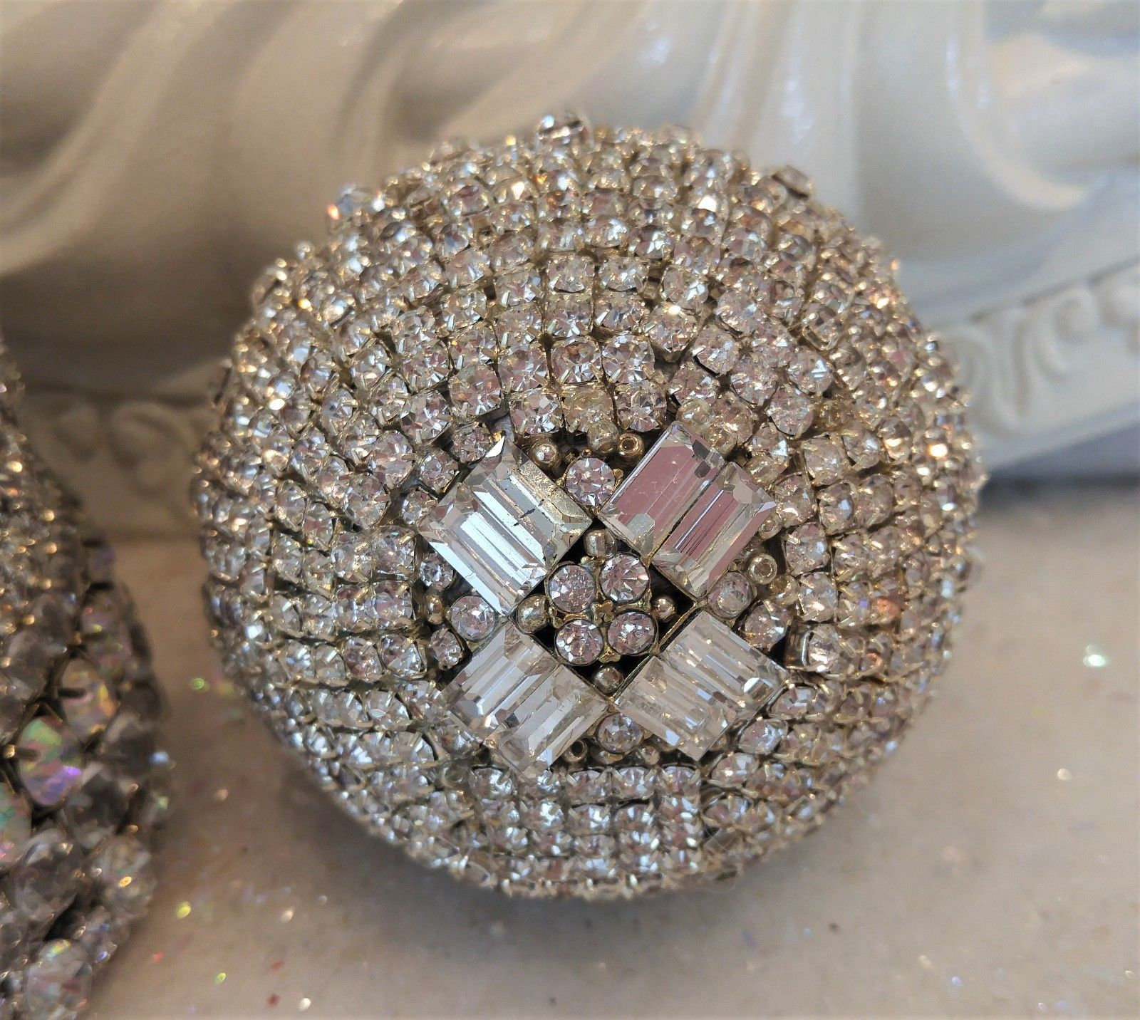 Gorgeous ALL Rhinestone ball ORNAMENT vtg jewelry Brooch pins earrings buttons * | eBay