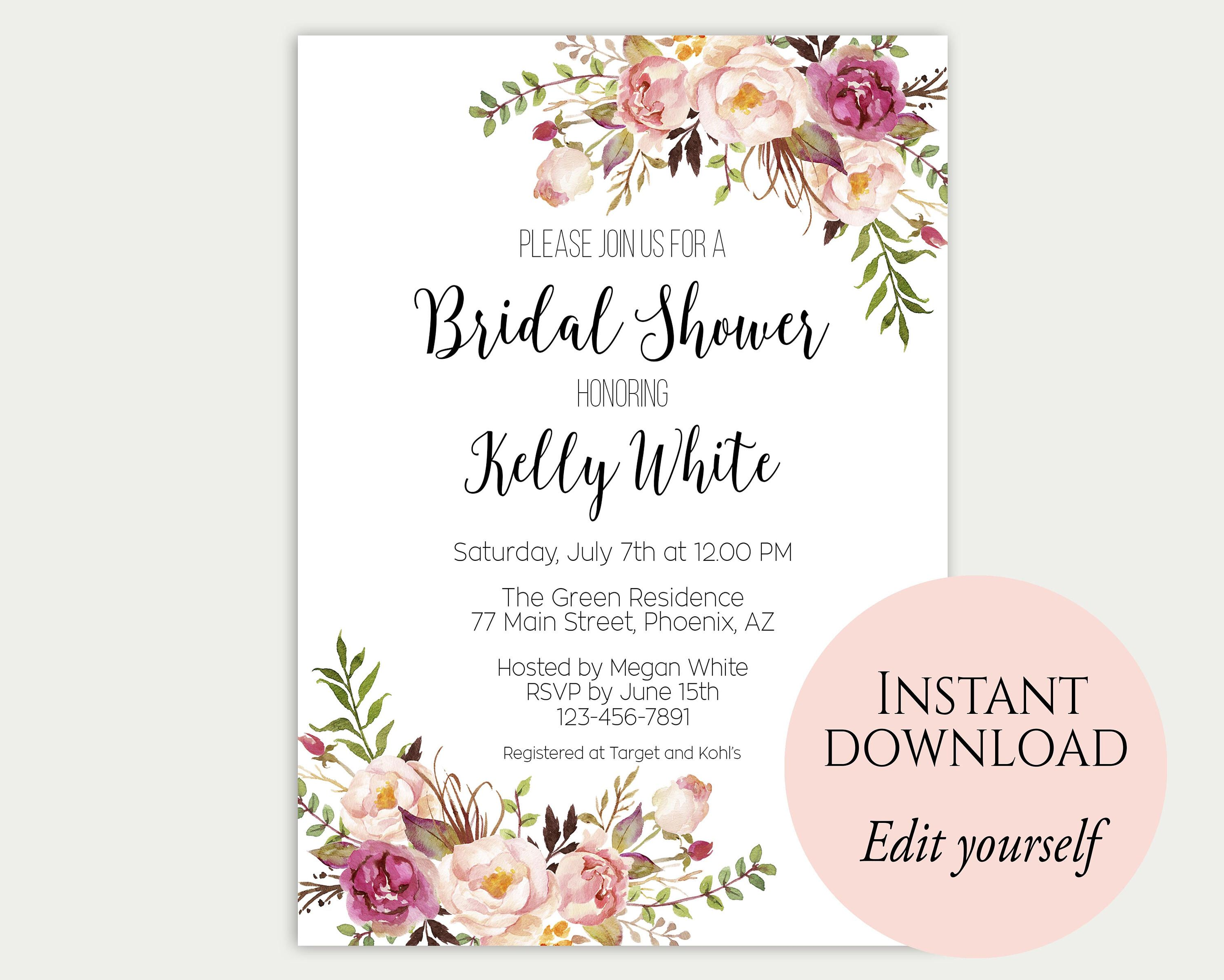 rustic bridal shower invitations bridal shower rustic wedding invitations baby shower printables