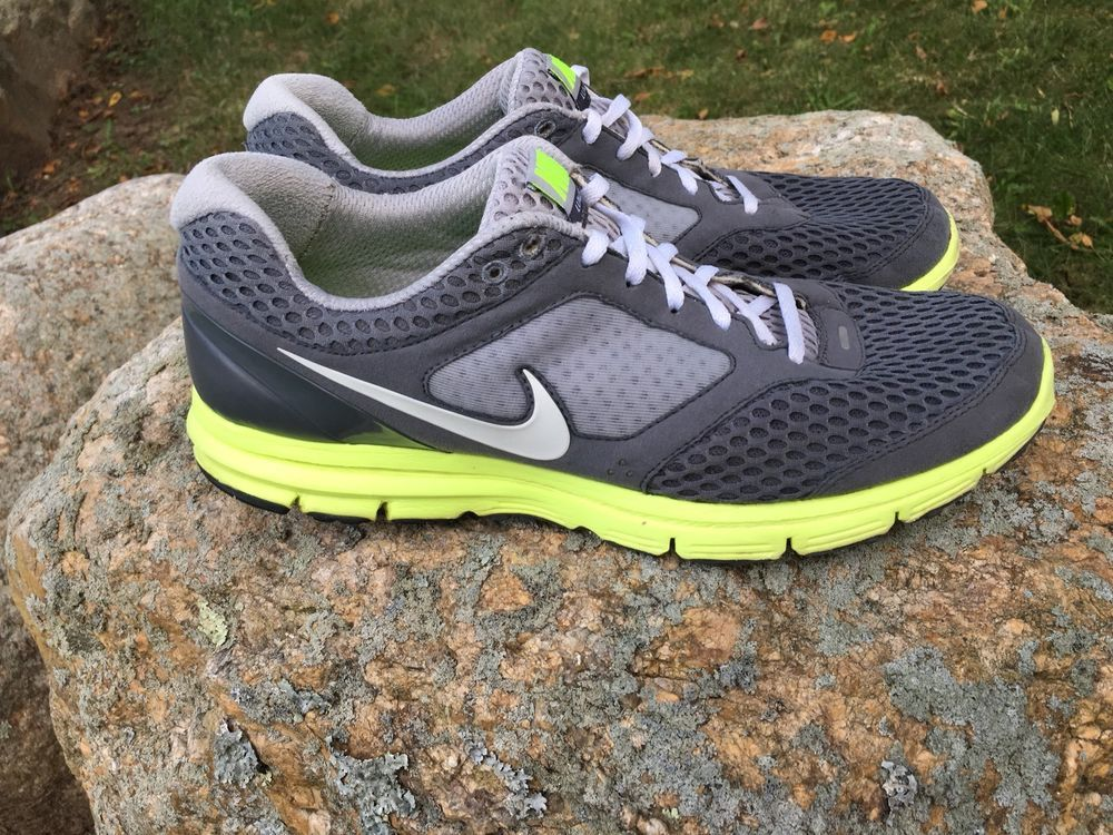 competitive price f5a5d f8897 NIKE Mens Size 11 Lunarfly 2 Lunarlon Neon Green & Gray Running Shoes  452419-007 | eBay