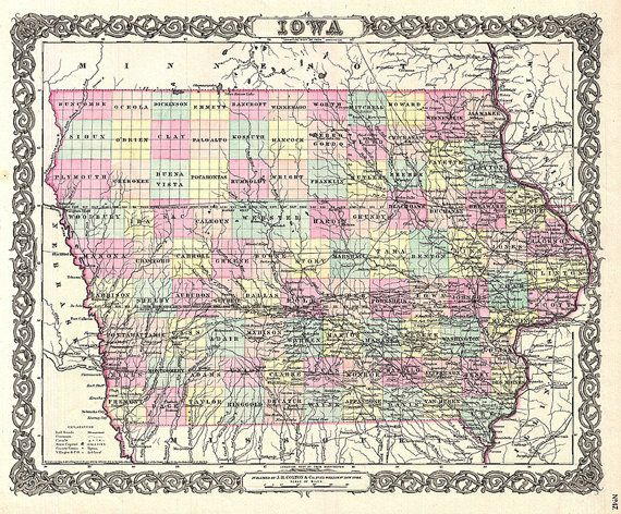 Old Iowa Map.Iowa Map 1855 Scanned Version Of An Old Original Map Of The Iowa