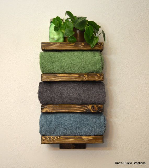 Rustic Bathroom Towel Rack 4 Tier Shelf by