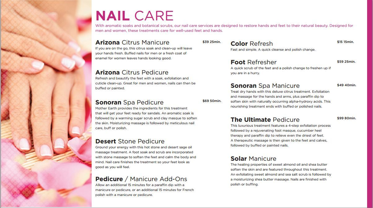 Sonoran Spa Westward Look Resort Tucson Resort Spa Flyer Spa Beauty Design