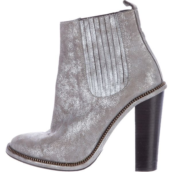 Pre-owned Opening Ceremony Metallic Suede Ankle Boots (£140) ❤ liked on Polyvore featuring shoes, boots, ankle booties, silver, suede ankle boots, block heel booties, suede booties, metallic ankle boots and suede ankle bootie