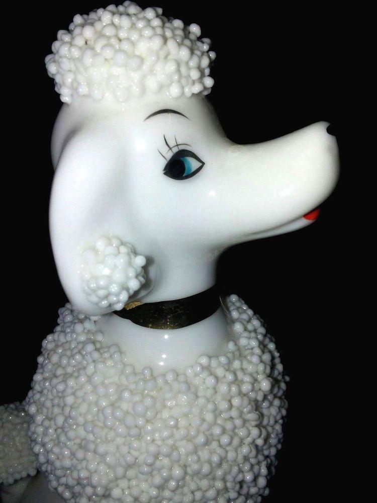 Vintage 1950s White Porcelain Dog Poodle Figurine Mint Rare Porcelain Dog Poodle Dog Poodle