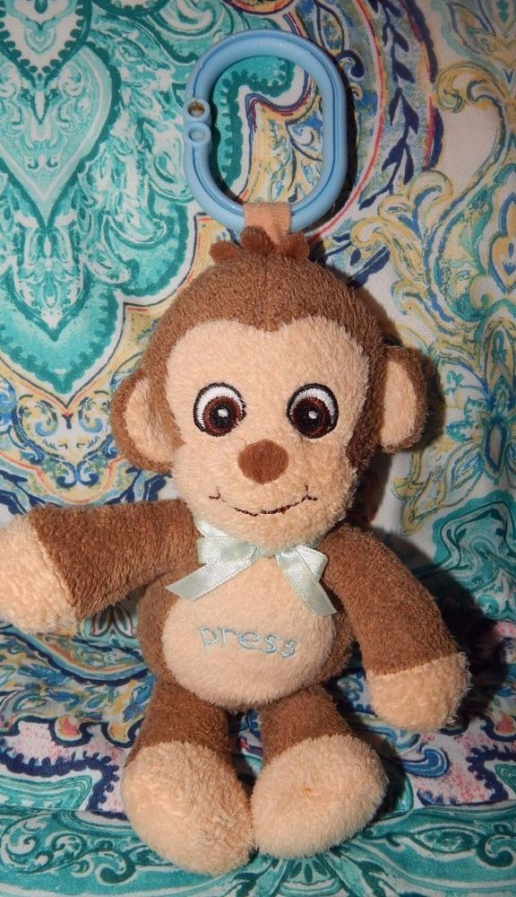 Garanimals Plush Monkey Crib Car Seat Toy W Light Up Cheeks And Music Baby