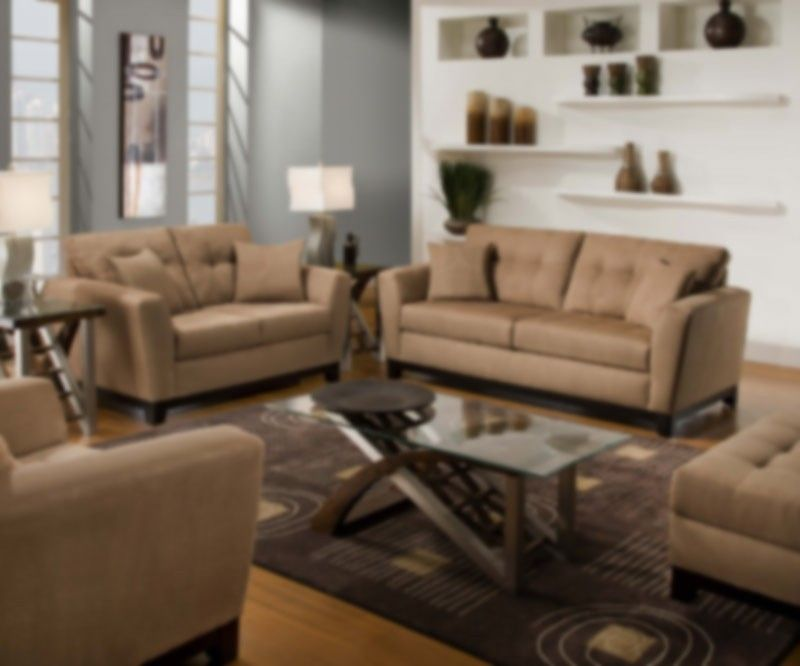 Simmons Upholstery   Luna 2 Piece Sofa Set In Latte   6565  2Set