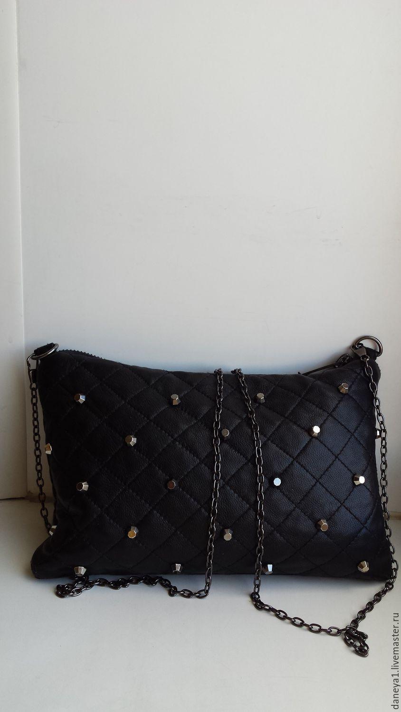 d1d2ad8ec520 Купить Кожаный клатч - черный, клатч из натуральной кожи, клатч на цепочке,  Стеганая