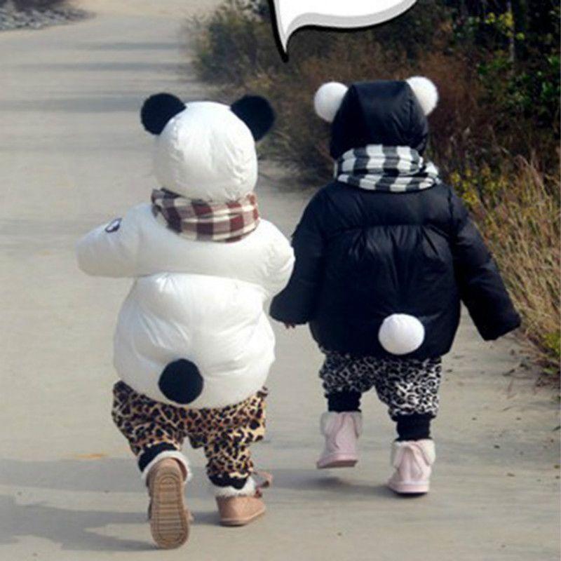 Estilo de la Panda niños de invierno de las 2016 nueva moda chaqueta gruesa  de algodón ocasional de los muchachos calientes chicas ropa blanco y negro  ... 5f11ad2fdeb
