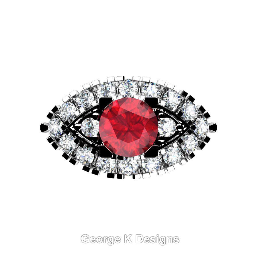 French k white gold ct ruby diamond marquise eye wedding ring
