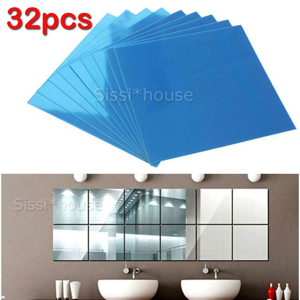 32x Mirror Tiles Self Adhesive Back Square Bathroom Decor Wall
