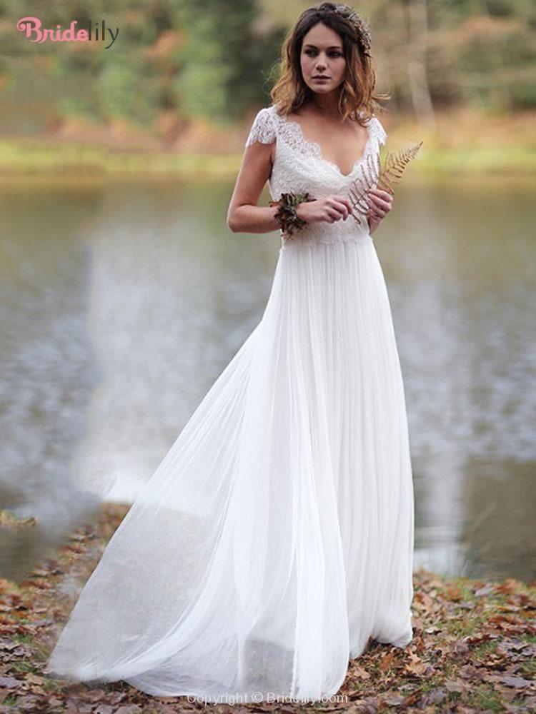 Elegant V Neck Cap Sleeves Lace Ruffles Wedding Dresses Wedding