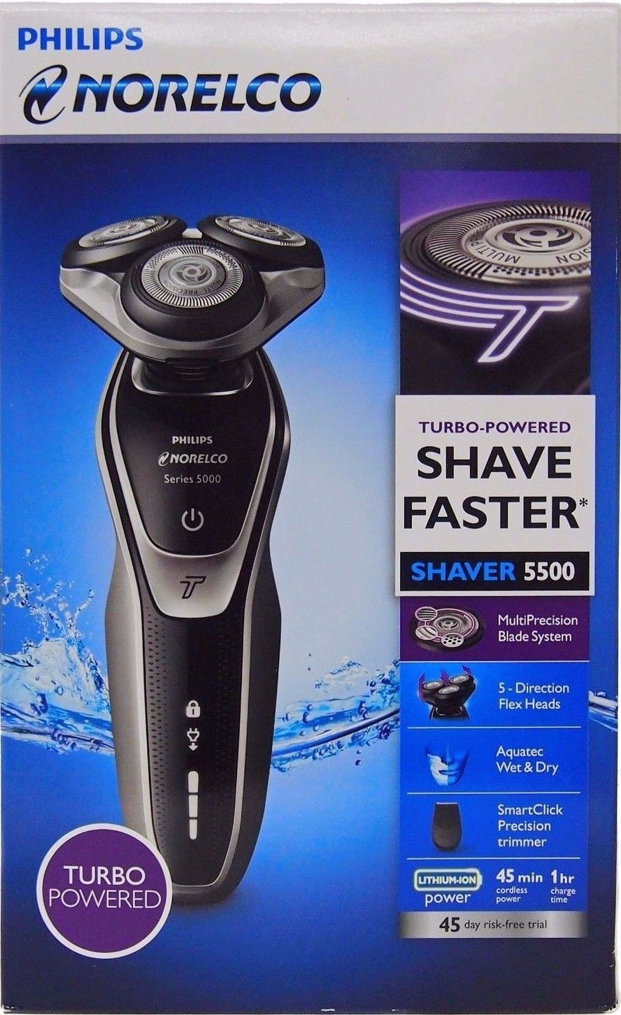 8ac9b2f0c7b Mens Shavers  New Philips Norelco Electric Shaver 5500 Wet And Dry ...